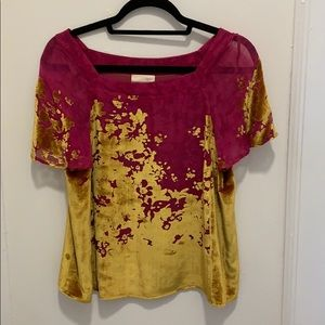 Anthropologie - pink top with yellow velvet detail